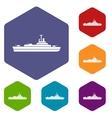 Warship icons set vector image vector image