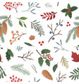 wintertime plants flat seamless pattern vector image vector image