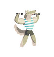 wolf exercising with dumbbells wearing sports vector image vector image