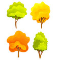 yellow and green bright autumn tree set with a vector image