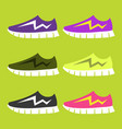 bright sport sneakers set flat editable vector image