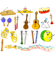 Set of funny cartoon musical instruments for kids vector image