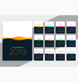 2019 calendar template with colorful waves vector image