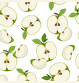 apple slice seamless pattern dropping on white