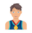 athlete awarded a gold medal sport and reward vector image