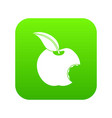 bitten apple icon digital green vector image