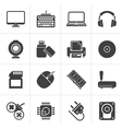 Black Computer peripherals and accessories icons vector image