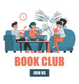 book club concept group people sitting vector image vector image