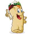 burrito cartoon character pointing vector image vector image