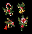 christmas bouquets with candies holly berries vector image