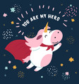 cow in superhero mask and cloakyou are my hero vector image
