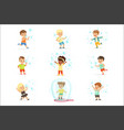 cute little girls and boys blowing and playing vector image vector image