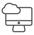 Desktop cloud computing line icon synchronize