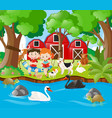 farm scene with kids reading by the river vector image vector image