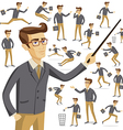 Flat people icons situations web infographic set vector image