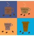 Four coffee cups of different types on vector image