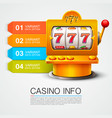 golden info list slot machine wins the jackpot vector image vector image