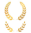 golden laurel wreaths round and half vector image vector image