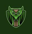 green dragon face mascot logo vector image vector image