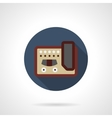 Guitar stompbox flat color round icon vector image