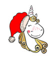 hand drawn cute magic unicorn in santa hat vector image vector image