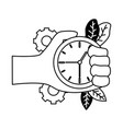 hand with clock time vector image vector image