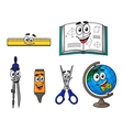 Happy cartoon school supplies vector image vector image