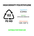 high density polyethylene plastic marking vector image vector image