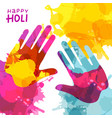 holi festival background with colorful handprint vector image vector image