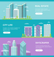 horizontal banners with modern business buildings vector image