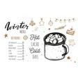 hot drinks winter menu design template includes vector image vector image