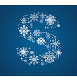 letter s font frosty snowflakes vector image
