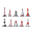 lighthouse icons nautical towers beacon lights vector image