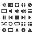 media and video player icons set vector image vector image