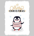 merry christmas postcard with penguin in sweater vector image vector image