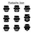 mustache icons set in flat style vector image