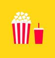 popcorn soda drinking glass icon set cinema movie vector image vector image