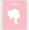 princess or queen profile silhouette with crown vector image vector image