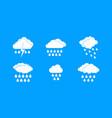 rainy cloud icon blue set vector image