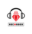 red diamond with headphone icon design vector image vector image
