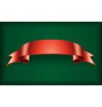 Red ribbon satin banner green vector image vector image