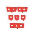 red social media bubble shape with like heart vector image vector image