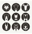 Set of stylized animal avatar black vector image vector image