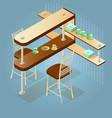 set of the isometric cartoon counter and chairs vector image