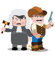 sheriff and judge men in suits of 19 centuries vector image vector image