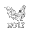 Stylish cock or rooster isolated on white vector image vector image