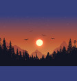 view to forest on sunset background vector image vector image