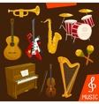 Wind and strings musical instruments vector image vector image