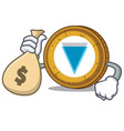 with money bag verge coin character cartoon vector image