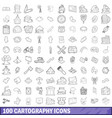 100 cartography icons set outline style vector image vector image